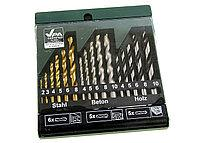 M7-110021, Drill. Bit set (steel, concrete, wood), Golden